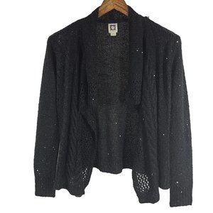 ANNE KLEIN Long Sleeve Open Sequined Cardigan XS